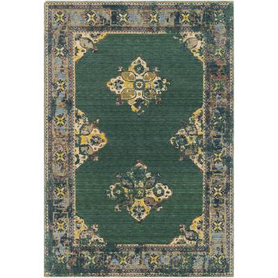 Rand Overdyed Vintage Dark Green Bright Yellow Area Rug