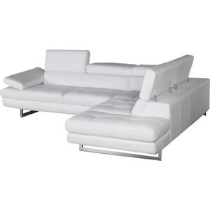 Hugo Leather Reclining Sectional  sc 1 st  AllModern : white sectional sofa with chaise - Sectionals, Sofas & Couches