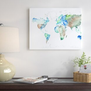 World map push pin wayfair world map painting print on wrapped canvas gumiabroncs Image collections