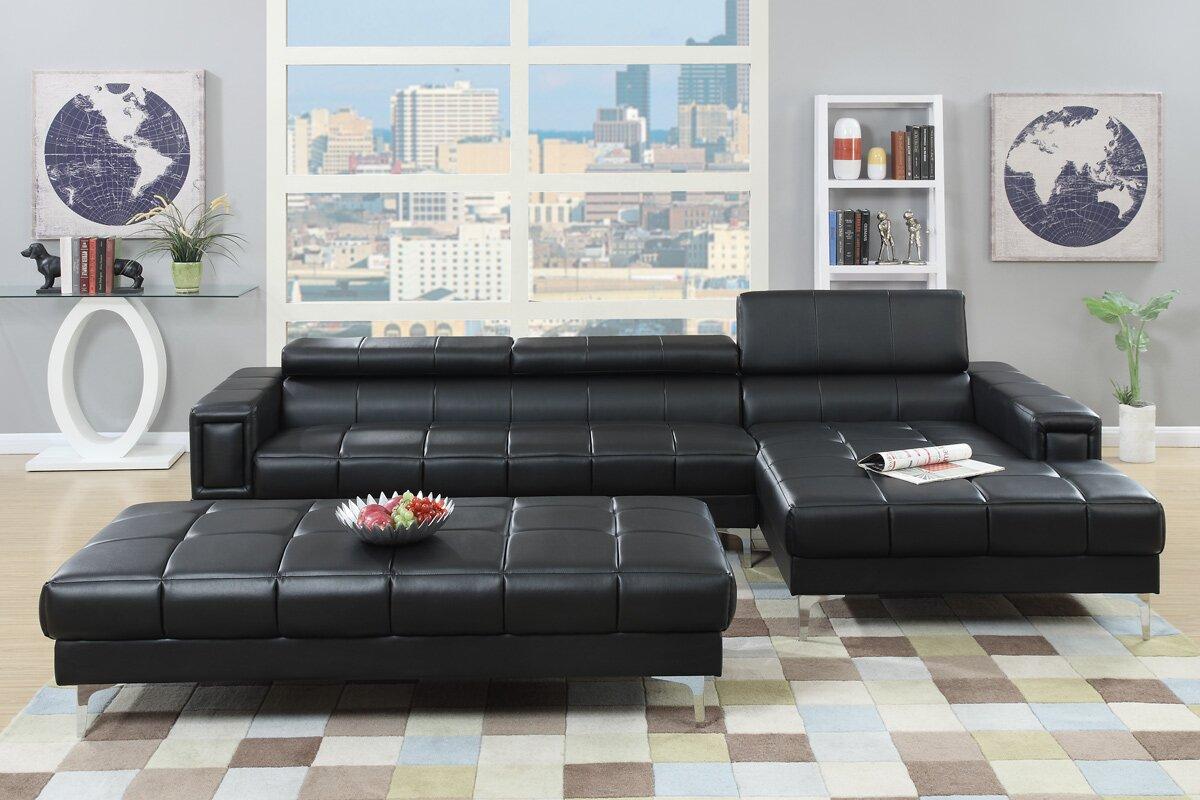 Poundex F7601 3 Pcs Carmine Reversible Sectional Sofa