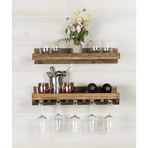 Tristen Rustic Wall Mounted Wine Glass..