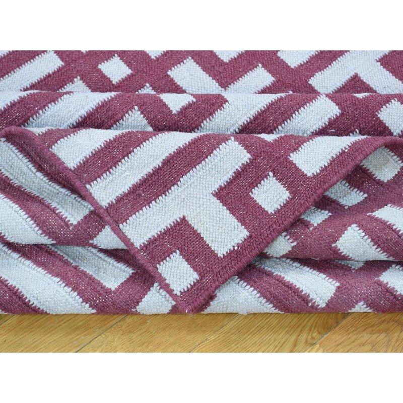 One Of A Kind Charleena Reversible Handmade Kilim Ivory Wool Area Rug