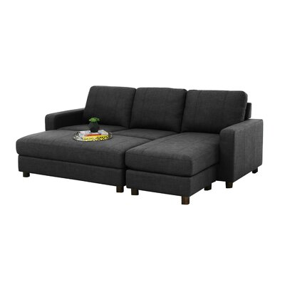 Three Posts Askerby Reversible Modular Sectional with Ottoman Upholstery: Charcoal