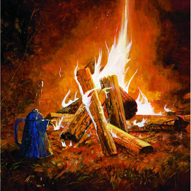 WGI GALLERY 'Evening Campfire' Painting Print on Wood ... Campfire Painting