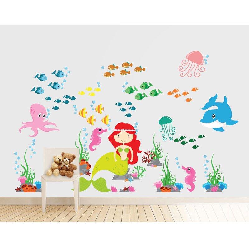 wall decal source mermaid, under the sea and ocean nursery vinyl