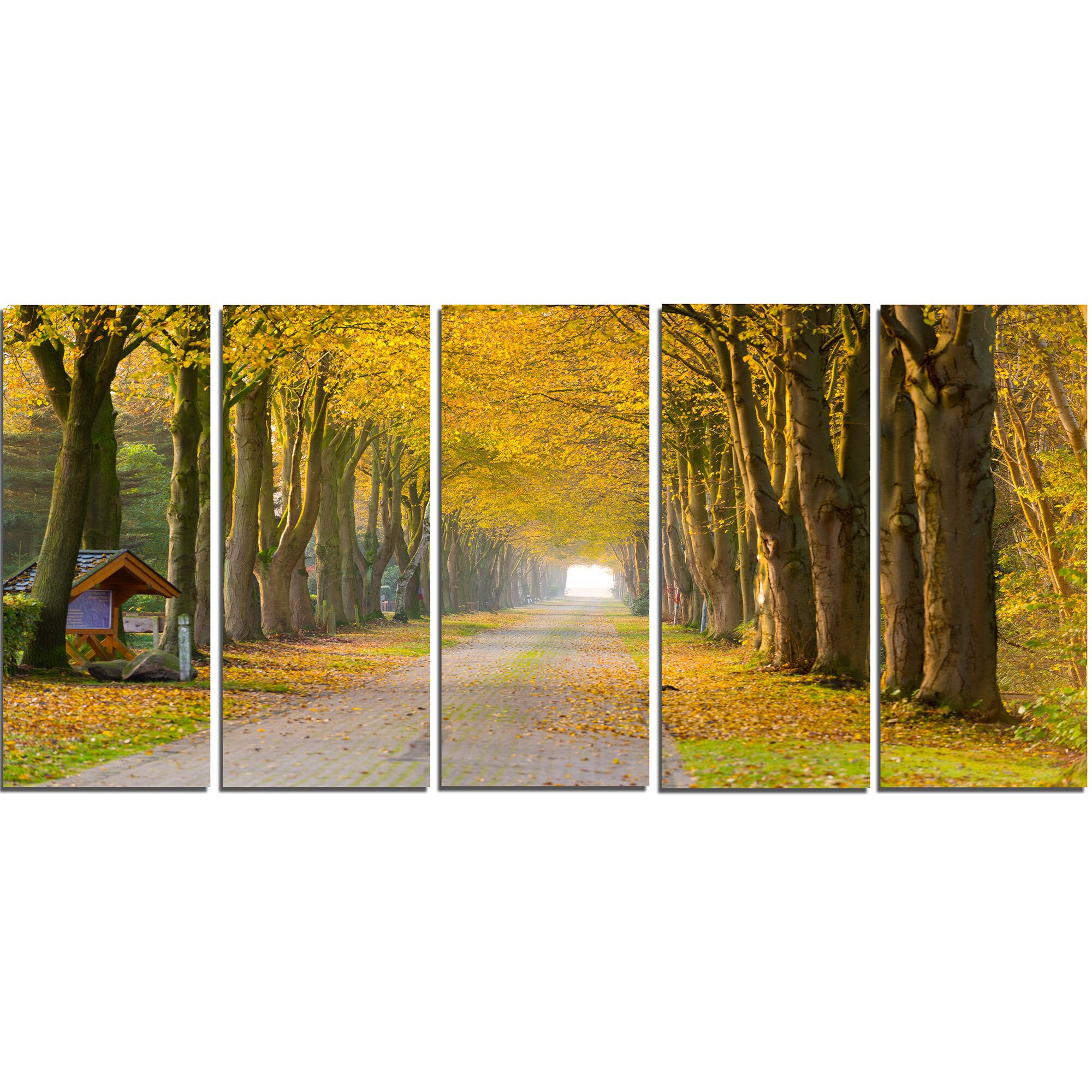 DesignArt Country Road Below Yellow Trees 5 Piece Wall Art on ...