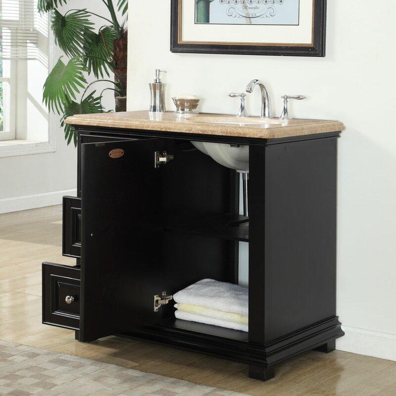 """Bathroom Vanities Right Side Sink silkroad exclusive 36"""" single bathroom vanity set with sink on"""