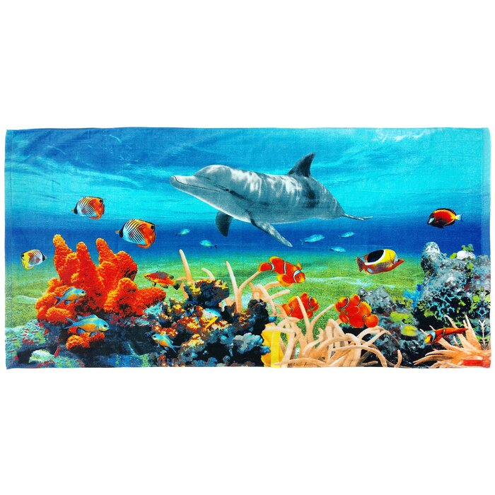bb41b84b Dolphin Coral Reef Beach Towel