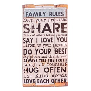 Family Rules Wood Sign Wall Du00e9cor