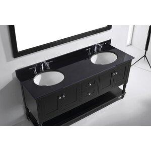 Julianna 73 Double Bathroom Vanity Set with Black Galaxy Top and Mirror
