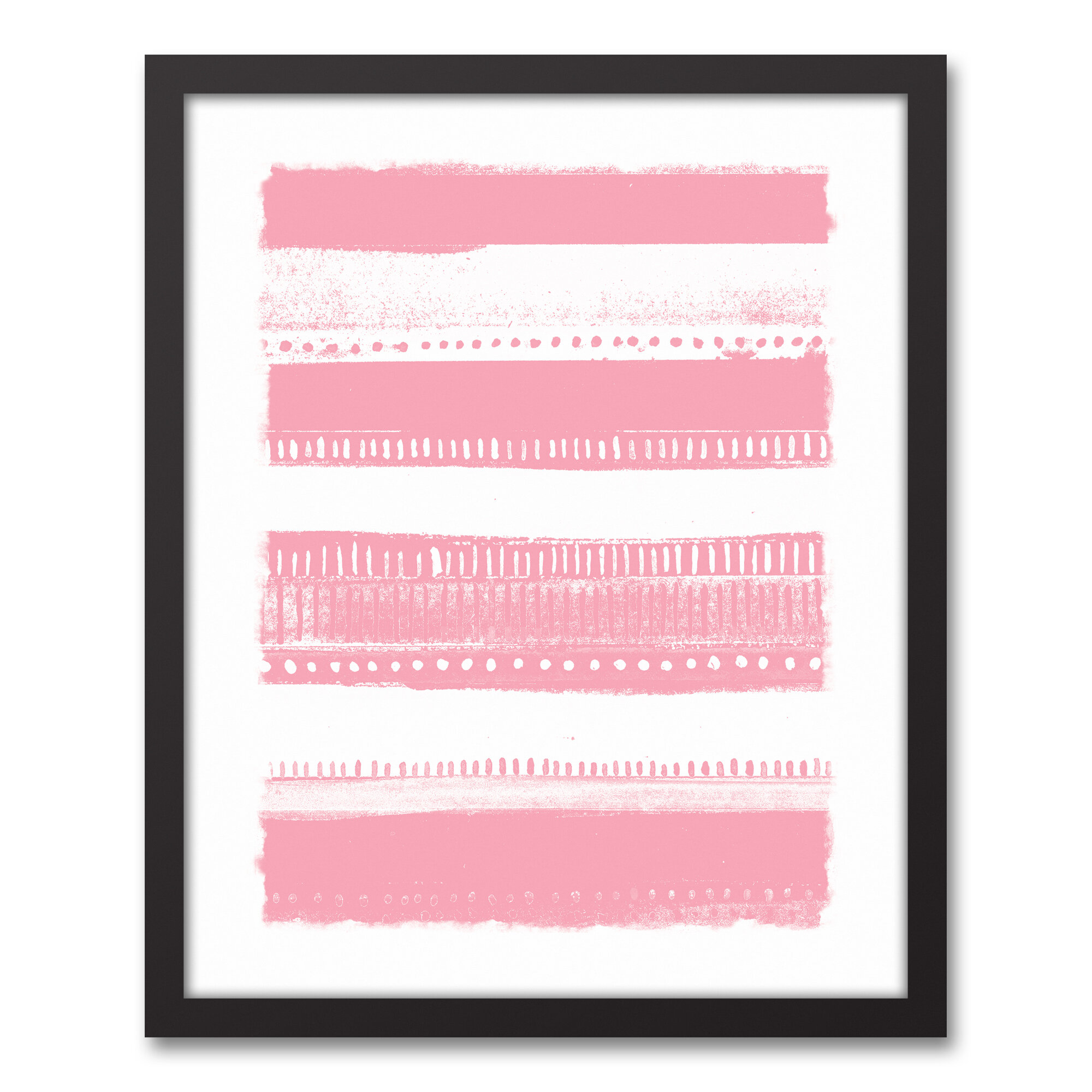 Pink Tribal Stripes Framed Graphic Art Print On Canvas Joss Main
