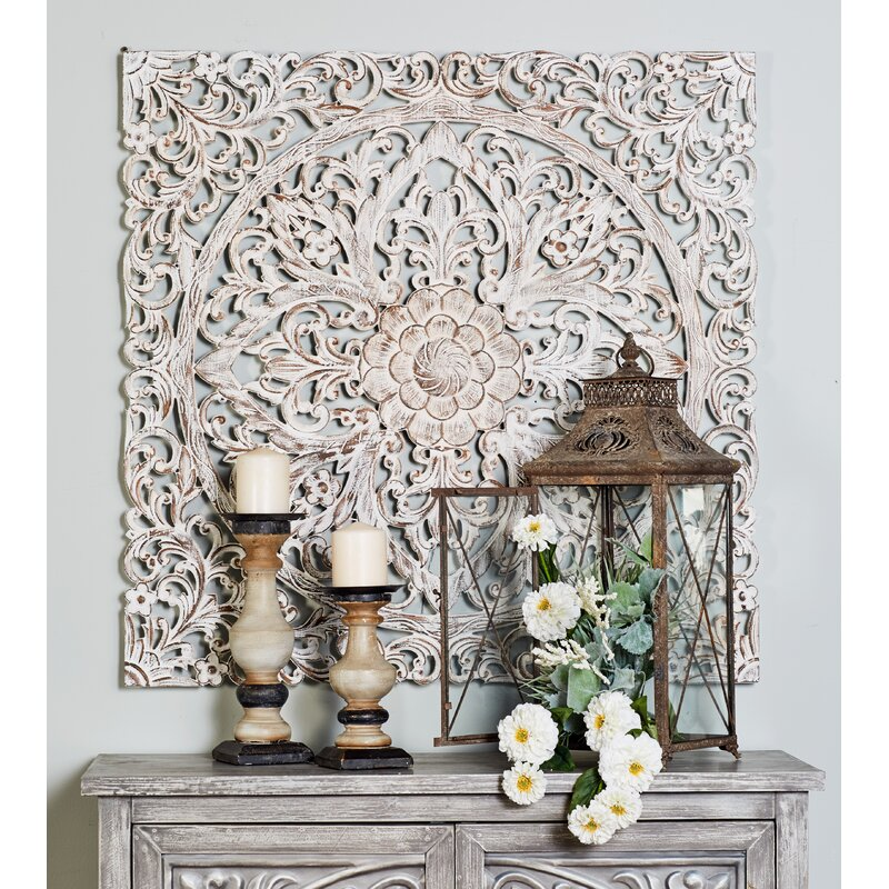 Bungalow Rose Traditional Carved Floral Medallion Wall ...
