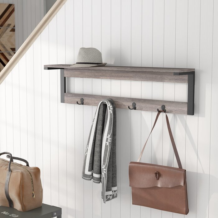 Junien 1 Shelf 4 Hook Entryway Wall Mounted Coat Rack