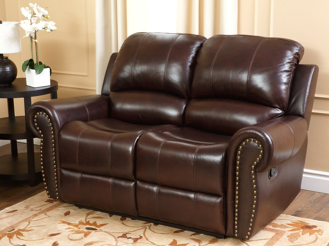 Darby Home Co Barnsdale Reclining Italian Leather Sofa And