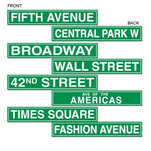 New York City Street Sign Cutouts Wall Décor Set Of 4