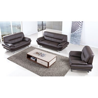 AmericanEagleInternationalTrading Arcadia Leather 3 Piece Living Room Set Upholstery: Dark Chocolate