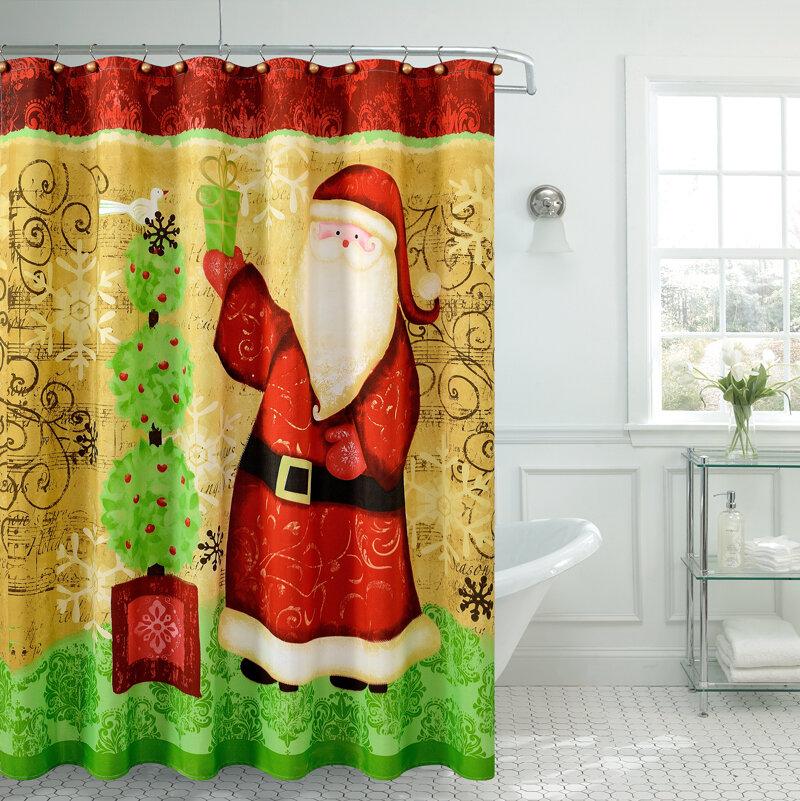 Daniels Bath Christmas Greetings Santa Claus Shower Curtain Reviews