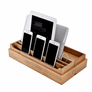 3 piece ecofriendly bamboo multi device organizer charging station and dock set
