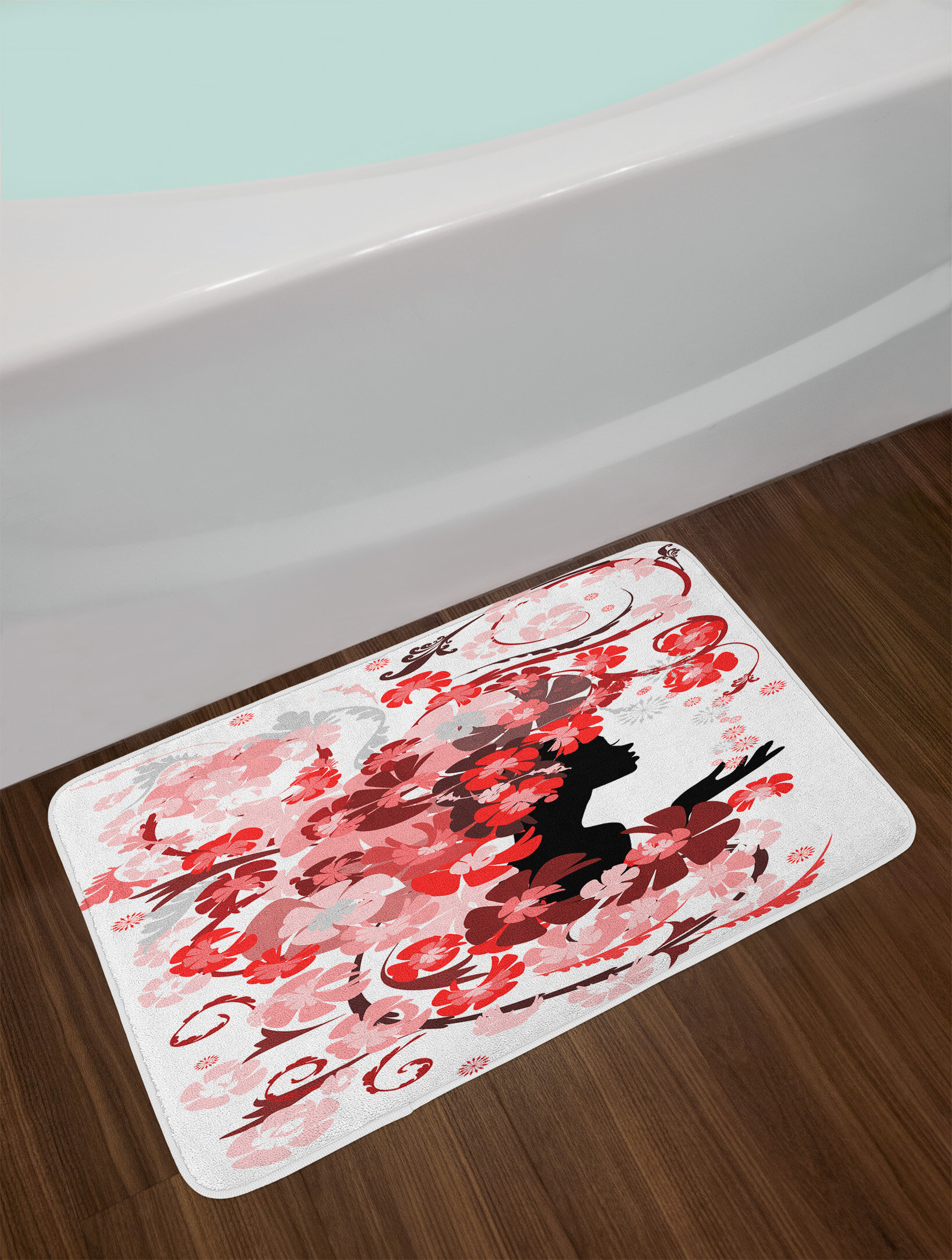 East Urban Home Red Pink Black Girls Bath Rug Wayfair