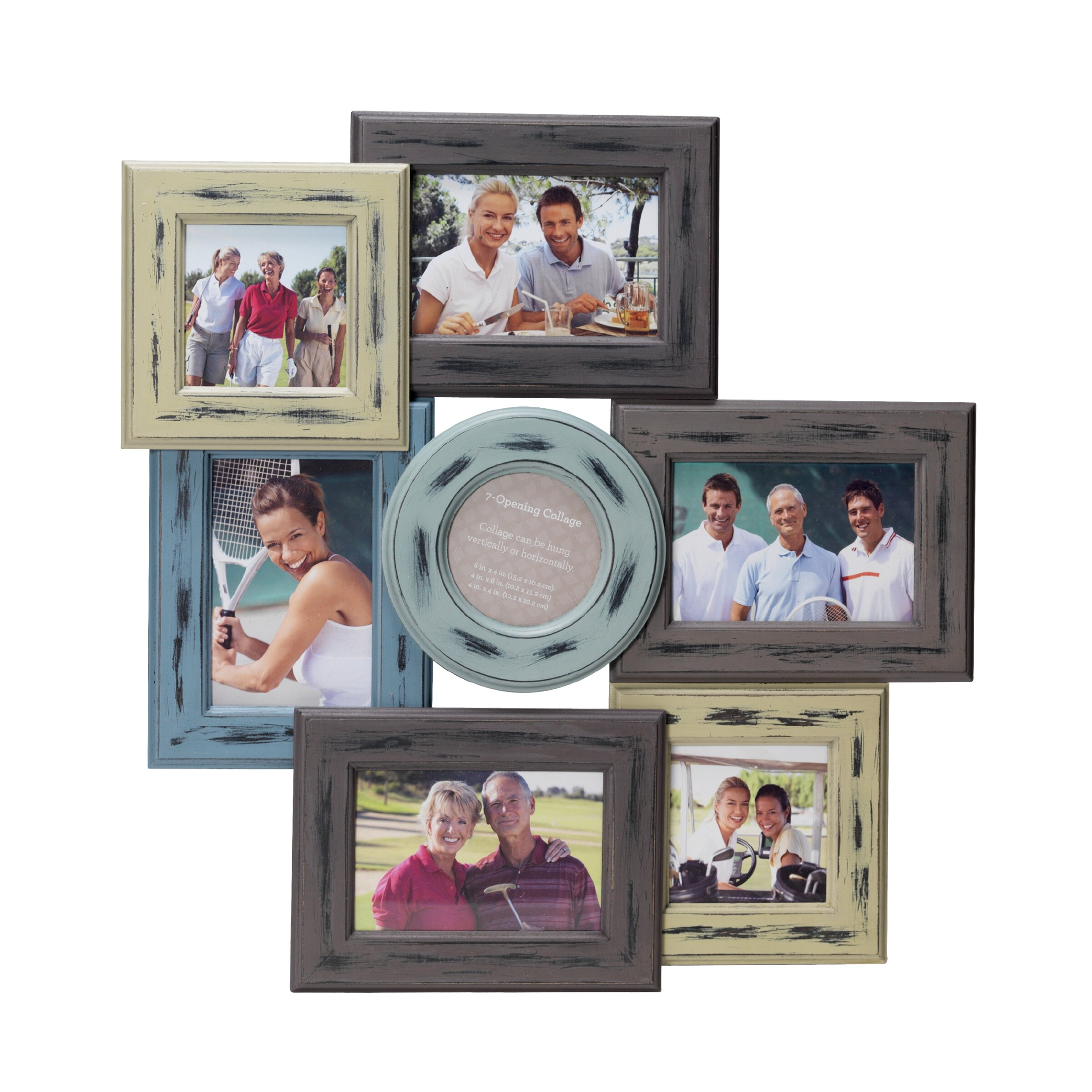 August Grove 7 Opening Distressed Wood Collage Frame & Reviews | Wayfair