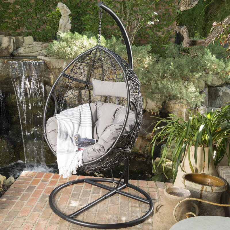 Dawson Outdoor Wicker Basket Swing Chair With Stand