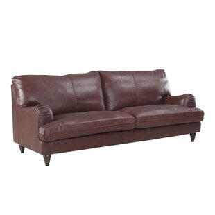 Auberto Classic Victorian Top Grain Leather Sofa