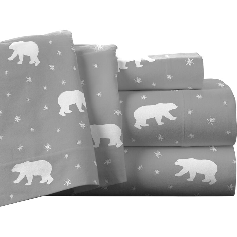Pointehaven Polar Bear 100 Cotton Flannel Sheet Set