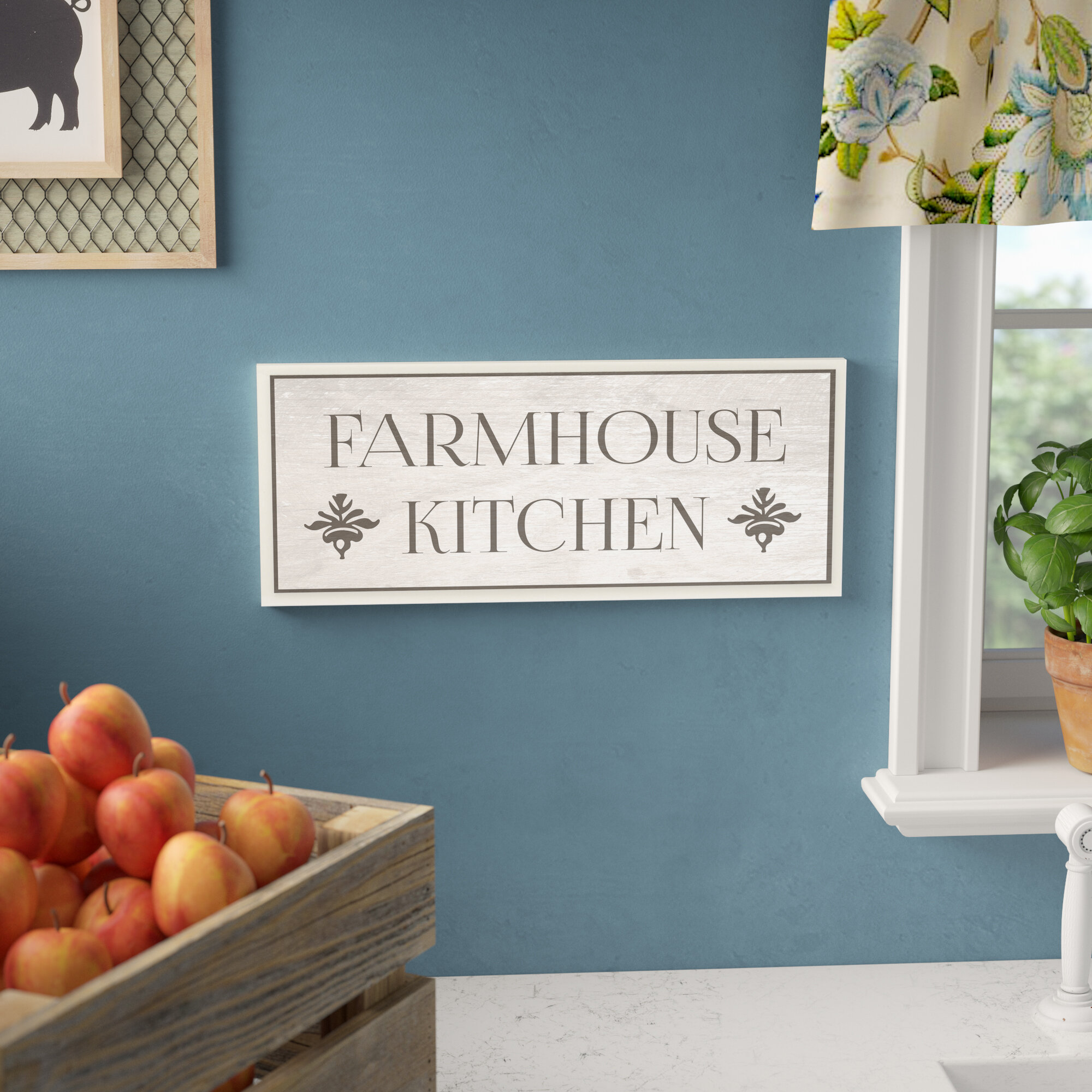 Gracie Oaks \'Farmhouse Kitchen Typography\' Rectangle Textual Art on ...