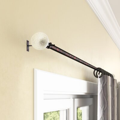Three Posts Sheena Crackle Knob Single Curtain Rod and Hardware Set Finish: Oiled Bronze, Size: 36 - 72 W