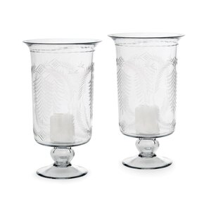 Tall Etched Glass Hurricane (Set of 2)