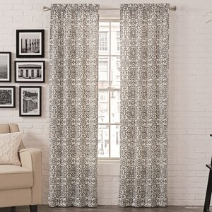 Livio Damask Semi-Sheer Rod Pocket Curtain Panels (Set of 2)