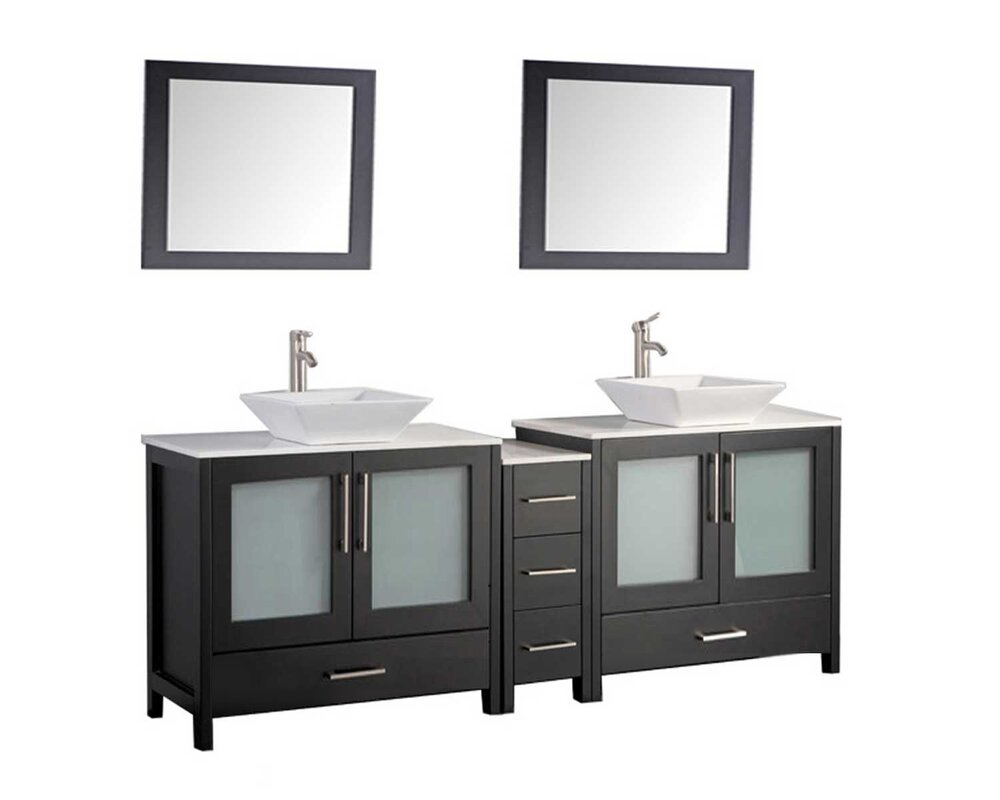 Powley 72 Double Sink Bathroom Vanity Set With Mirrors