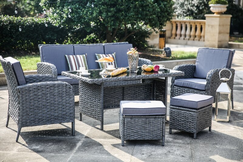 One Allium Way Brixham 6 Piece Rattan Sofa Seating Group With