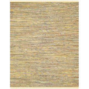 Havelock Contemporary Hand-Woven Cotton Yellow Area Rug