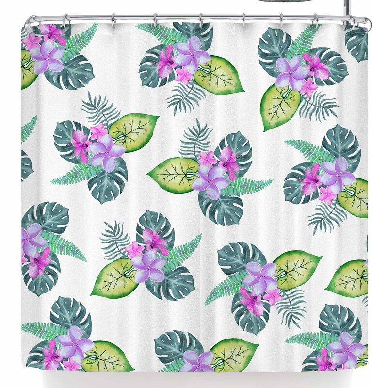 East Urban Home Sylvia Cook Tropical Flowers Shower Curtain ...