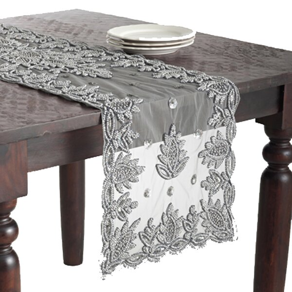 Saro Lakshmi Hand Beaded Design Table Runner U0026 Reviews   Wayfair
