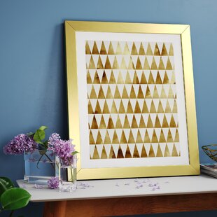 d10b21737e8d  Triangle Pattern Gold  Framed Graphic Art Print on Wood