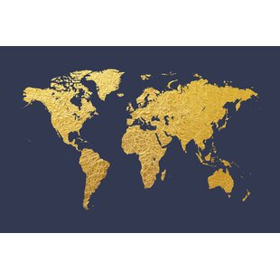 Gold foil world map canvas wayfair world map series gold foil on denim graphic art on wrapped canvas gumiabroncs Gallery