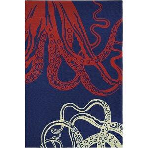 Shelford Hand-Hooked Red/Blue Indoor/Outdoor Area Rug