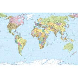 World map wallpaper kids wayfair world map 25m x 368cm wallpaper roll gumiabroncs Image collections