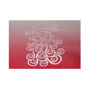 Santa Baby Decorative Holiday Ombre Print Red Indoor/Outdoor Area Rug
