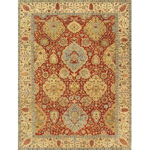 Kerman Hand-Knotted Red/Ivory Area Rug