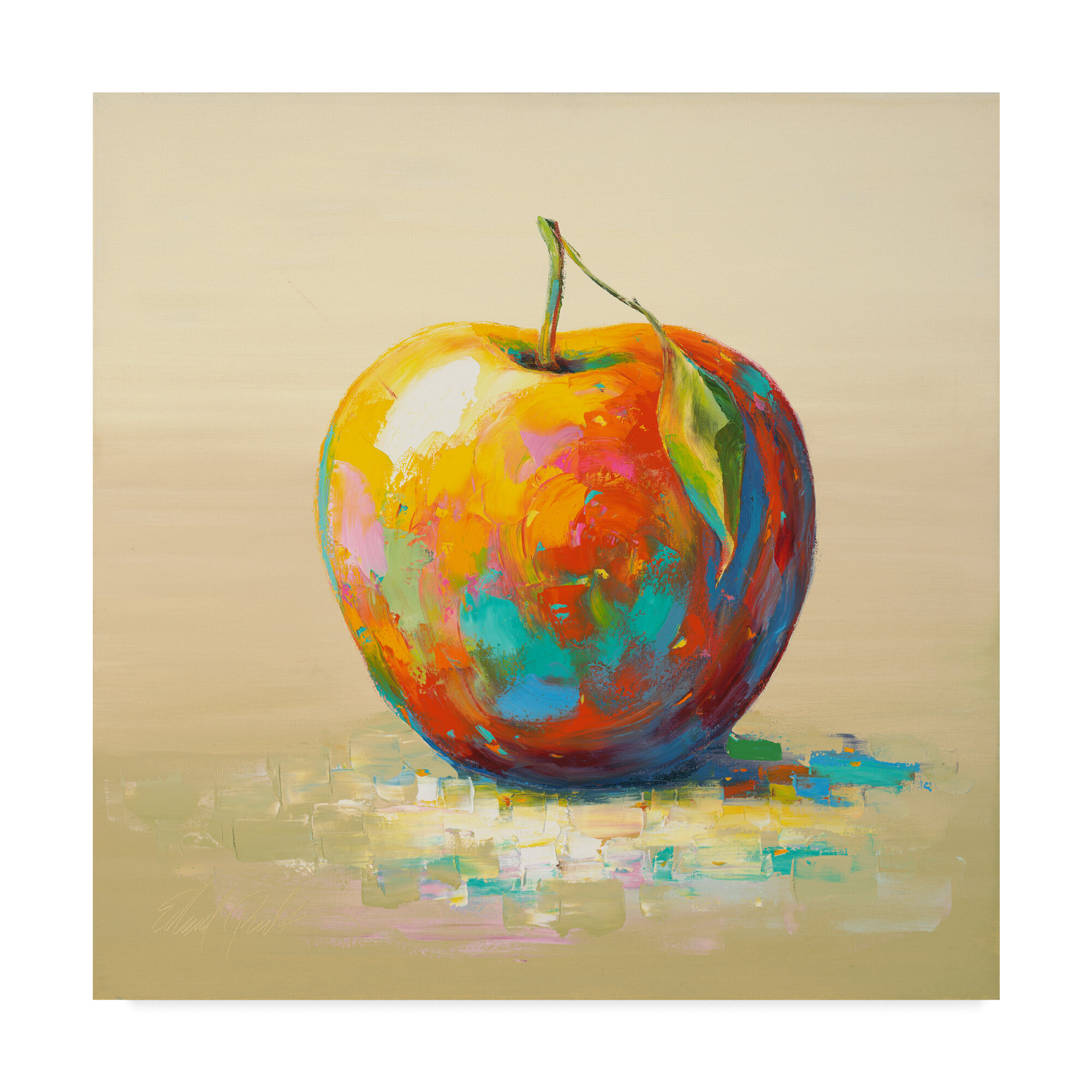 Trademark Art \'Painted Apple\' Acrylic Painting Print on Wrapped ...