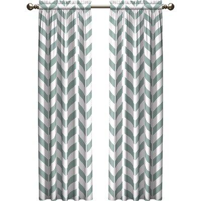 Ebern Designs Bayshore Chevron Light Filtering Rod Pocket Curtain Panels Size per Panel: 28 W x 63 L, Color: Spa