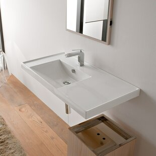 Ml Ceramic Rectangular Drop In Bathroom Sink With Overflow