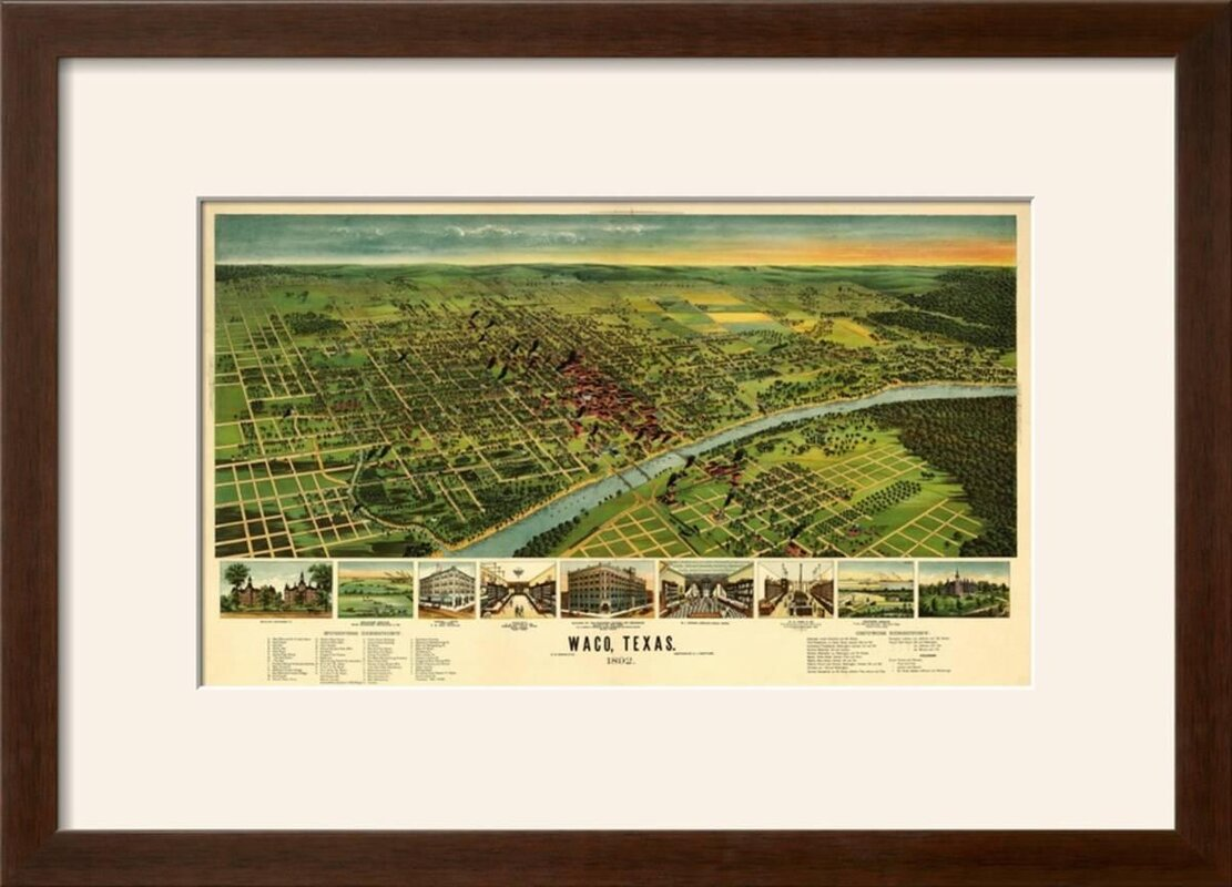 Charlton Home Waco Texas Panoramic Map Framed Vintage - Vintage texas map framed