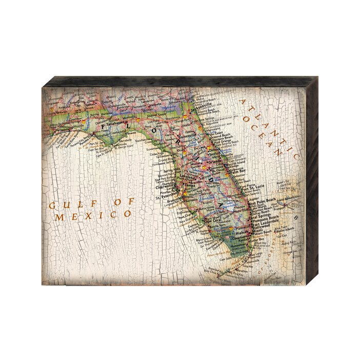 Map Of Coastal Florida.Vintage Florida Coastal Map Graphic Art Print On Wood