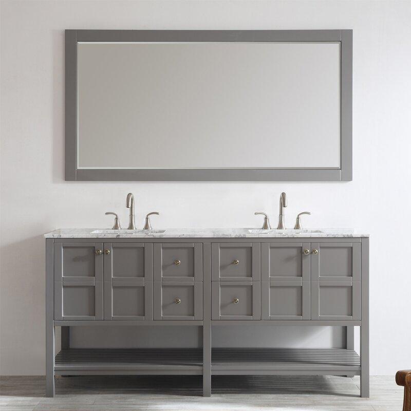 Caldwell 72 Double Bathroom Vanity Set With Mirror