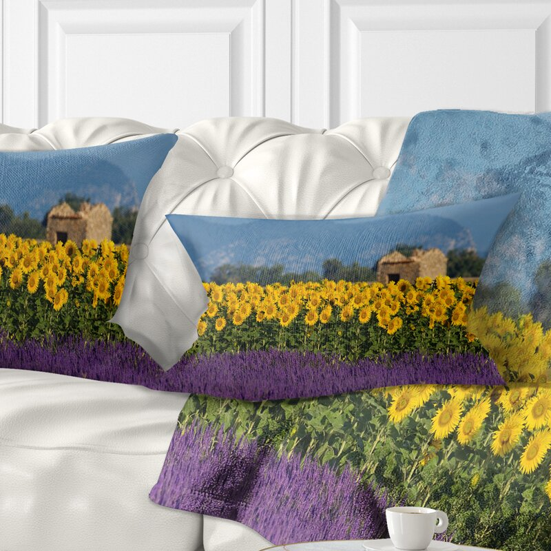 East Urban Home Fl Lavender And Sunflower In Provence Lumbar Pillow Wayfair Ca