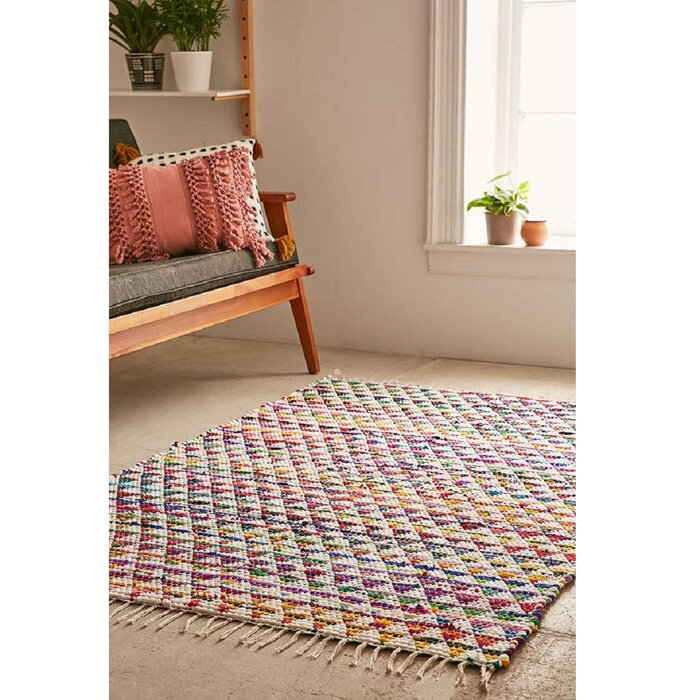 Cousar Hand Woven Cotton White Red Area Rug